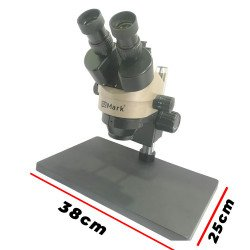 G2Mark RE-106+ 7X-45X Trinocular Stereo Microscope With CTV 0.5X Lens & LED Adjustable Light With Big Base