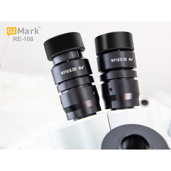 G2Mark RE-108 7X-45X Trinocular Stereo Microscope With CTV 1X Lens & LED Adjustable Light Exclusive Quality - White Color