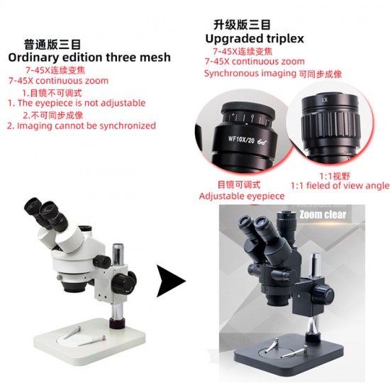 G2Mark RE-108 7X-45X Trinocular Stereo Microscope With CTV 1X Lens & LED Adjustable Light Exclusive Quality - Black Color